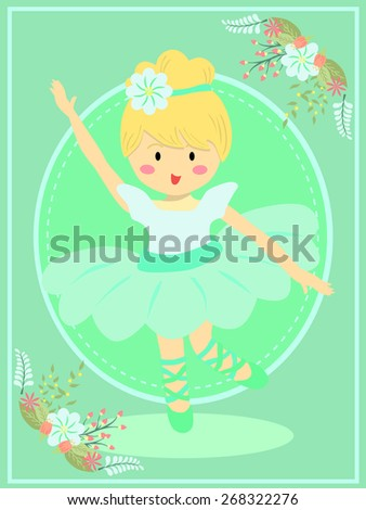 Cute Turquoise Ballerina Girl. Ballerina girl with turquoise dress tutu dancing ballet in turquoise theme background. - stock vector