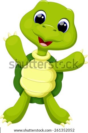 Cute turtle cartoon - stock vector