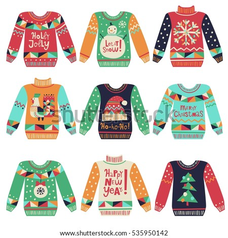 Cute Ugly Christmas Sweaters Vector Set Stock Vector 535950142
