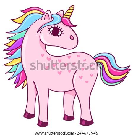 Cute unicorn. Cartoon children illustration. Isolated on white. - stock vector