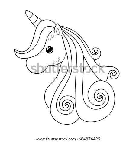 Cute Unicorn Clipart Coloring Activity Vector Stock Vector 684874495 ...