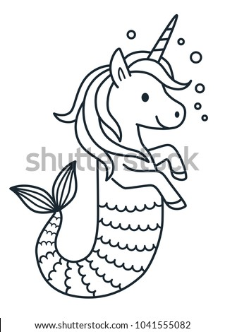 Cute Unicorn Mermaid Vector Coloring Page Stock Vector HD (Royalty ...