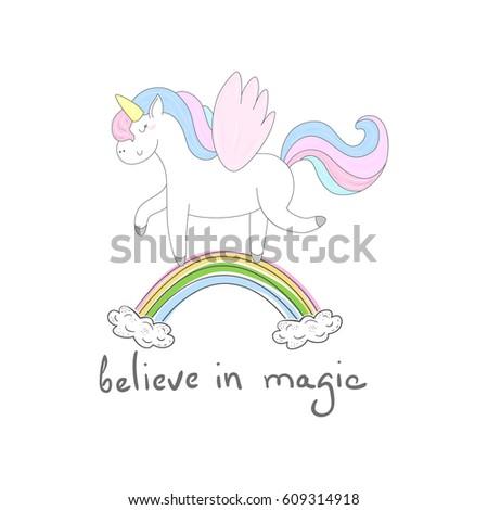 Cute Unicorn Print Kids Believe Magic Stock Vector 609314918 ...