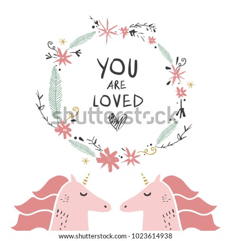 Cute Unicorns Fairy Tale Type Poster Stock Vector HD (Royalty Free ...