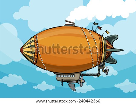 cute unique colorful hot air balloon, in blue sky background, vector illustration - stock vector