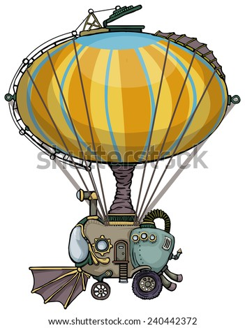 cute unique colorful hot air balloon vehicle, isolated on white, vector illustration - stock vector