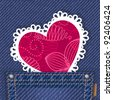 Cute valentine card in jeans pocket - stock photo