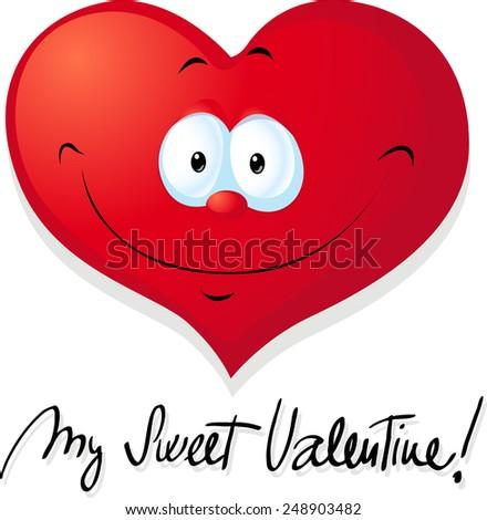 cute valentine heart - vector illustration - stock vector