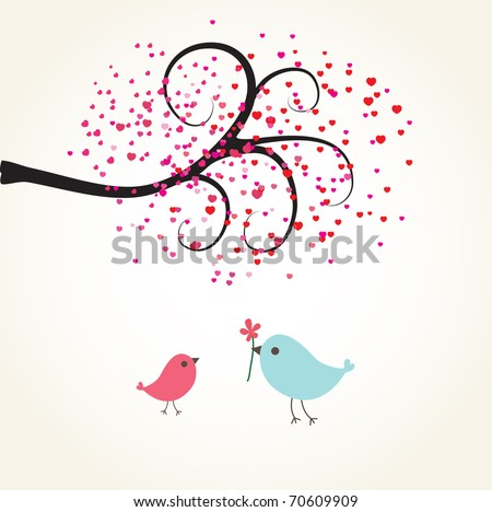 Cute valentine`s card with birds couple - stock vector