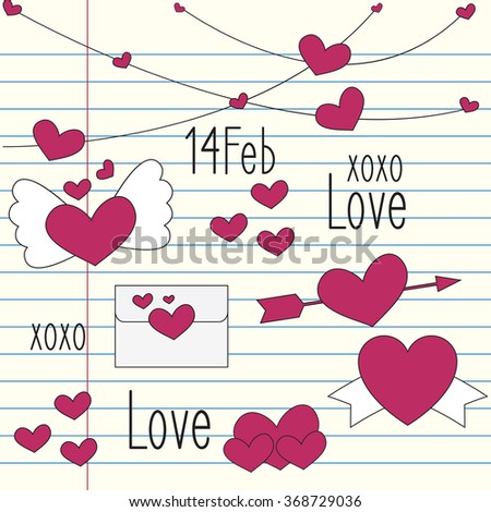 Cute Valentine's Day collection on notebook background.Vector illustration