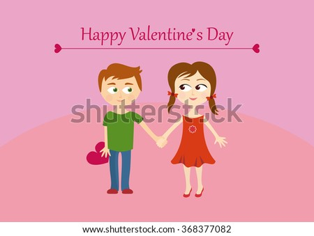 Cute valentines couple, girl and boy. Vector Valentine's Day illustration with a couple happy children. Background with children. Cartoon character children. Cartoon boy and girl. Amorous background