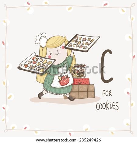 Cute vector alphabet Christmas. Letter C - Cookies  - stock vector