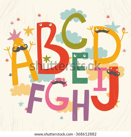 cute vector alphabet for children - stock vector