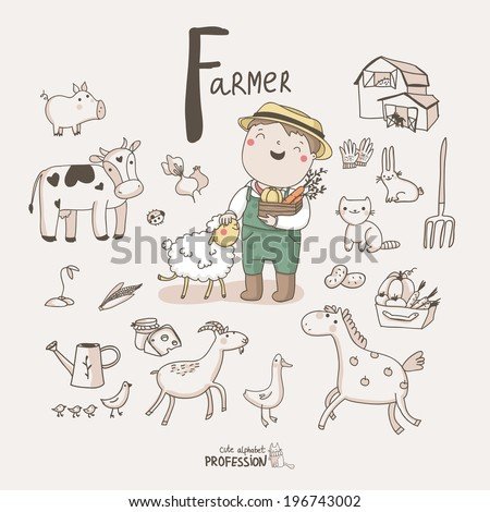 Cute vector alphabet Profession. Letter F - Farmer - stock vector