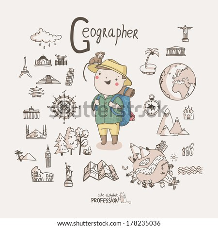 Cute vector alphabet Profession. Letter G - Geographer  - stock vector