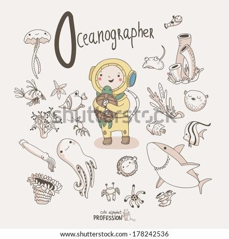 Vector alphabet profession letter o oceanographer stock vector