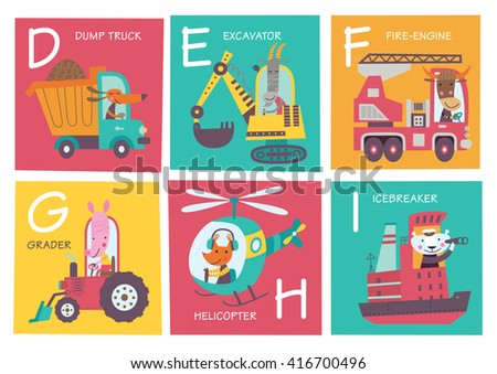 Cute vector alphabet with animals and transport in cartoon style. D, E, F, G, H, I. Part 2. - stock vector
