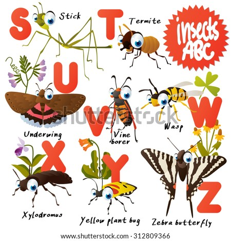 Cute vector animals ABC: Insects: stick, termite, underwing, vine borer, wasp, xylodromus, zebra butterfly - stock vector