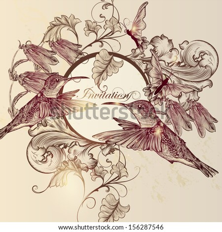 Cute vector background in vintage style with hand drawn butterflies and birds - stock vector