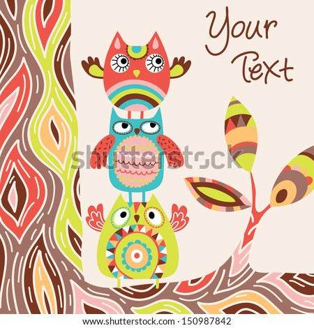 Cute vector background with owls - stock vector