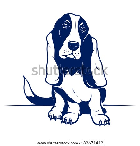 Cute Vector Basset Hound - stock vector