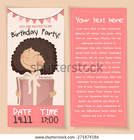 Cute vector Birthday card with a sweet girl with present - stock vector