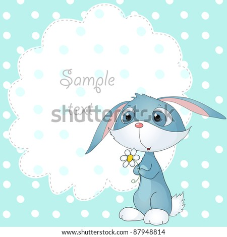 cute vector card with bunny and polka dot and place for your text
