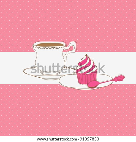 Cute vector card with tea cap and sweet cupcake - stock vector