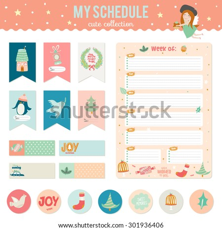 Cute Vector Cards, Notes, Stickers, Labels, Tags with Winter Christmas Illustrations and Wishes. Template for New 2016 Year Greeting Scrapbooking, Wrapping, Invitation, Notebooks, Diary - stock vector