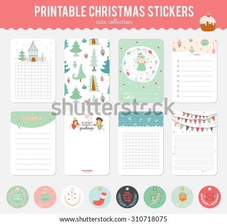 Cute vector cards notes stickers labels stock vector 310718075 cute vector cards notes stickers labels tags with winter christmas illustrations and m4hsunfo