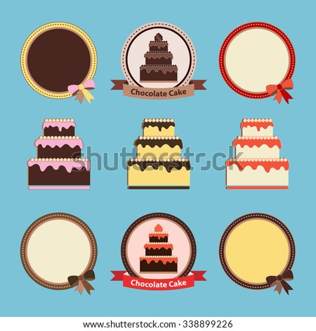Cute vector Cards with Cakes and Round Frames with Bows for wedding, birthday or celebration design and scrapbook.