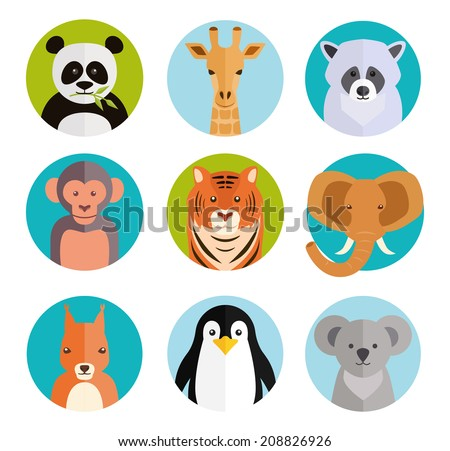 Cute vector cartoon animals in colored round badges with a panda  giraffe  raccoon  monkey  tiger  elephant  squirrel  penguin and koala - stock vector