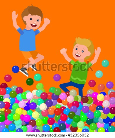 Cute vector character child. Cheerful child playing in pool with colorful balls. Happy kid Jump and Run. Detailed character child. Vector for Celebration children day, fun child. - stock vector