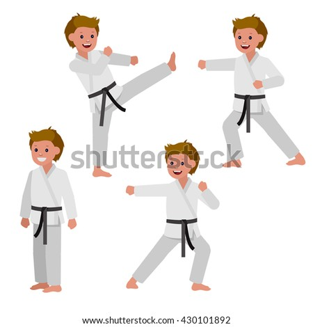 Cute vector character. Illustration for martial art poster. Kid wearing kimono and karate training - stock vector