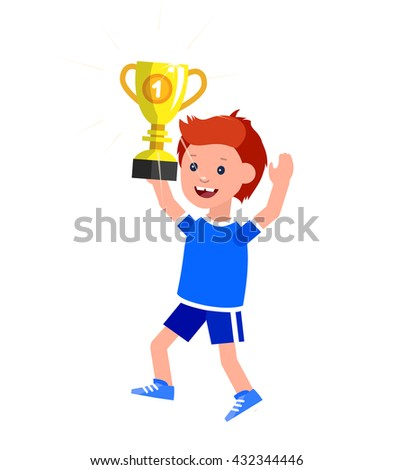 Cute vector character kid wins a golden cup, kid happy winning celebration. Cheerful child. Happy boy kid illustration. Detailed character child. Vector for fun child. - stock vector