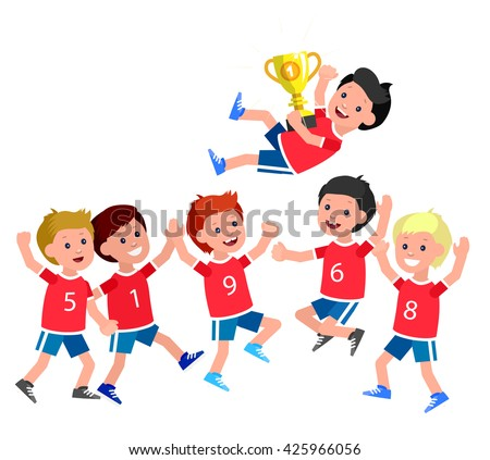 Cute vector character kids sports team wins a golden cup, kids happy winning celebration. Cheerful child. Happy boy kid illustration. Detailed character child. Vector for fun child. - stock vector