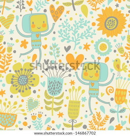 Cute vector characters in flowers. Bright romantic background with childish robots and flowers. Seamless pattern can be used for wallpaper, pattern fills, web page background, surface textures. - stock vector