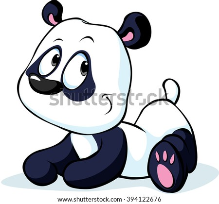cute vector Chinese panda bear isolated on white background - stock vector