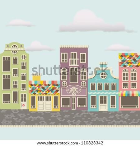 Cute vector cityscape - stock vector