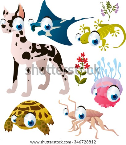 cute vector comic animal collection: dog, manta ray, gecko, jelly fish, tortoise, isopod. Illustration for kids book, apps or interior design, stickers or banners - stock vector