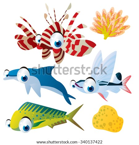cute vector comic cartoon fish set: collection of sea life animals for children book illustration, flash card games, stickers or mobile applications: coryphaena, zebra fish, coral, dolphin, sailfish - stock vector