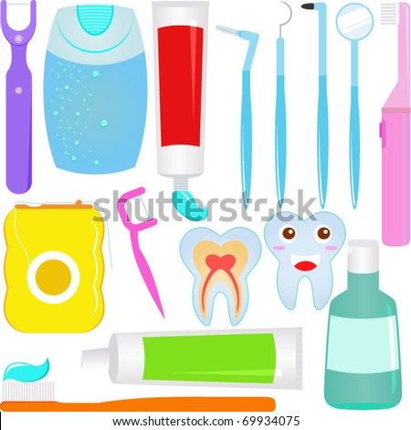 Cute Vector : Dental care (Tooth) Dentist Icons / Symbols - stock vector