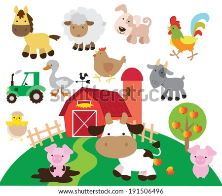 Cute vector farm  illustration - stock vector