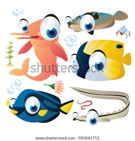 cute vector flat style illustration of sea life animals and fish. Funny collection set of amazonian dolphin, sablefish, flounder, worm