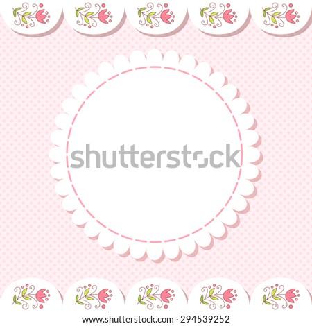 Cute vector flower photo frame. Baby shower card. Scrapbook elements. Vector illustration. - stock vector