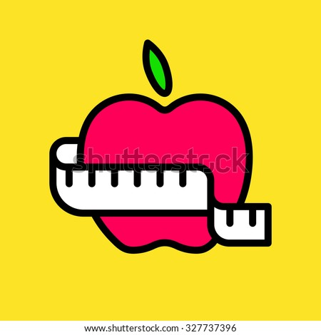 Cute vector graphic illustration of an apple with measuring tape - stock vector