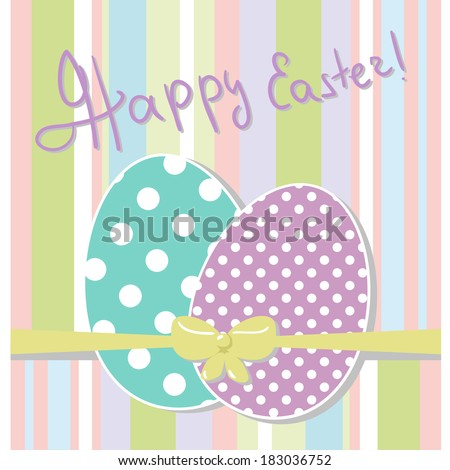 Cute vector greeting card with happy Easter