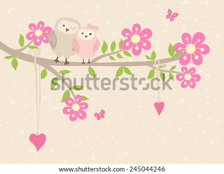 Cute vector holiday card funny owls stock vector 279959483 cute vector holiday card funny owls on the branch with fantasy flowers can be stopboris Choice Image