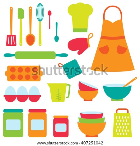 Cute vector icons collection on baking theme - stock vector