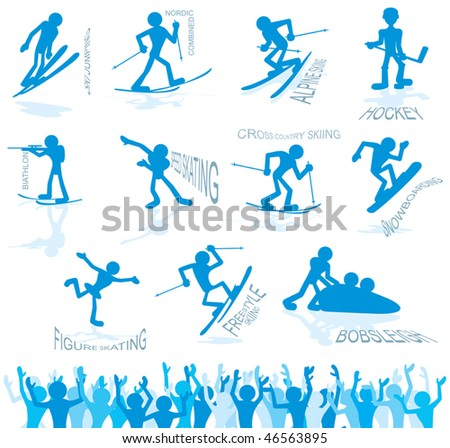 Cute vector icons of winter olympic sport - stock vector